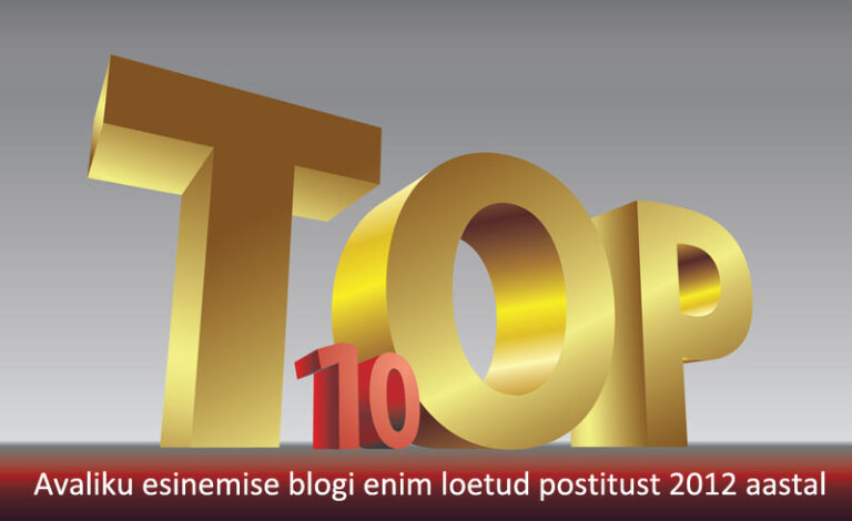 10 enim loetud avaliku esinemise blogi lugu 2012 aastal